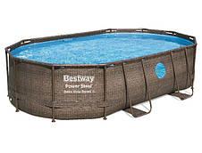 Каркасний басейн з пісочним фільтром Bestway Ротанг 56946 (488х305х107)