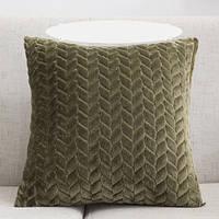 Декоративная плюшевая подушка цвета хаки