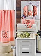 Набор полотенец Merzuka Pansy махровые 50-90 см-2 шт,70-140 см-1 шт оранжевый, фото 1