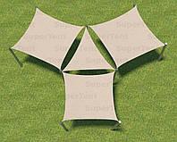 Теневой навес Парус, шатер, тент комбинация трех квадратных и треугольного полотна