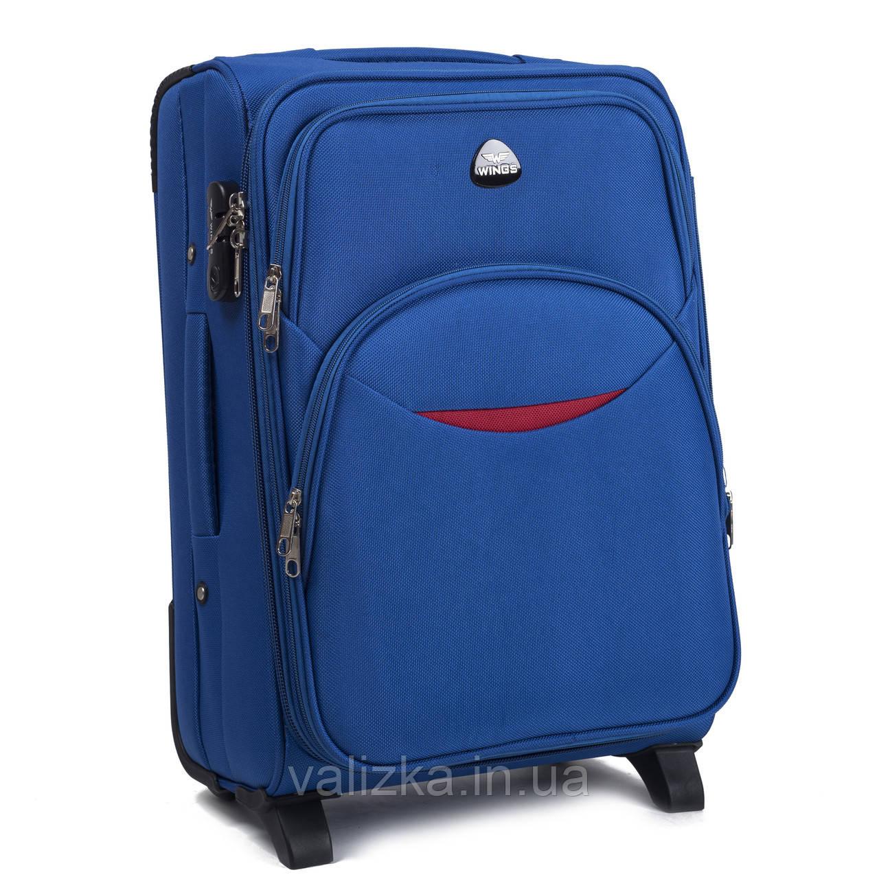 Текстильний маленький чемодан для ручної поклажі на 2-х колесах Wings 1708 світло-синього кольору.