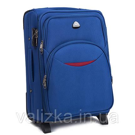 Текстильний маленький чемодан для ручної поклажі на 2-х колесах Wings 1708 світло-синього кольору., фото 2
