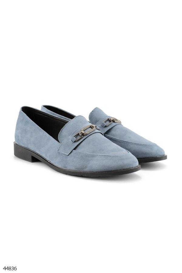 Стильні лофери - мокасини жіночі блакитні еко замш
