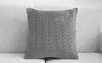 Декоративная плюшевая подушка серого цвета