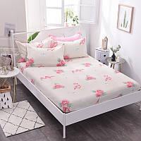 Простынь на резинке Фламинго и цветы 180x200+25 см Berni
