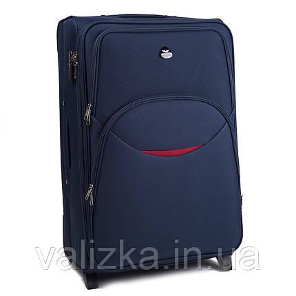 Текстильный чемодан большого размера на 2-х колесах Wings 1708 темно-синего цвета., фото 2