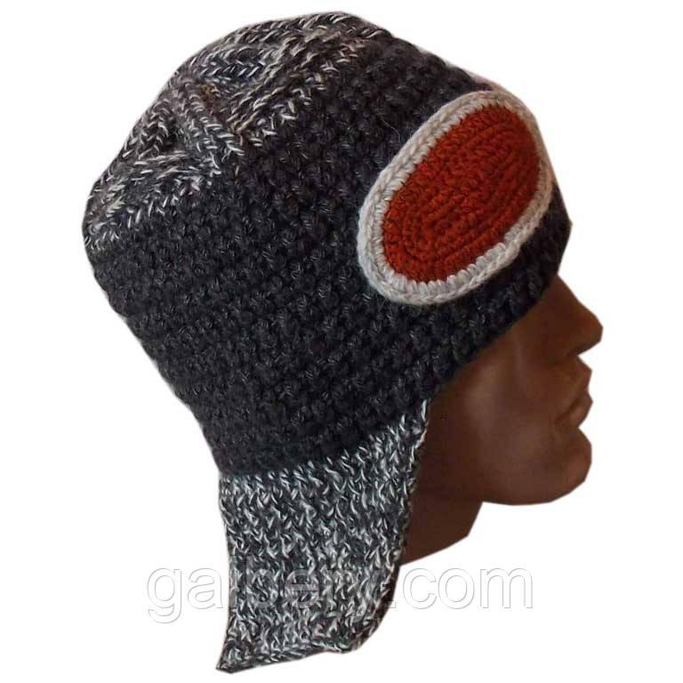 Мужская вязаная шапка - ушанка цвета антрацит