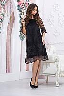 Стильное платье турецкое кружево +атласная подкладка(48-54), фото 1