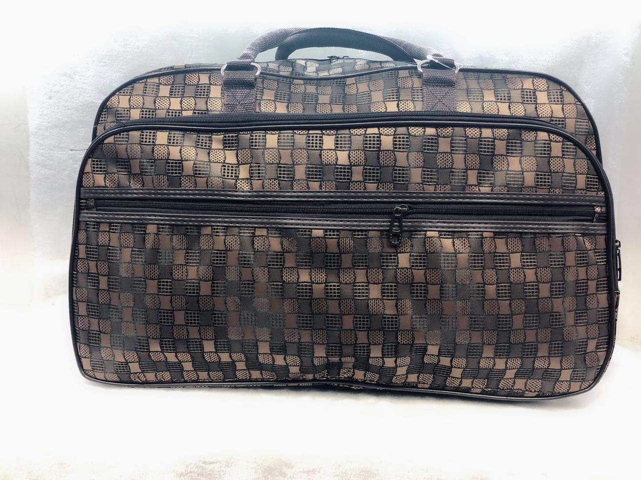Вместительная дорожная текстильная сумка-саквояж женская коричневая