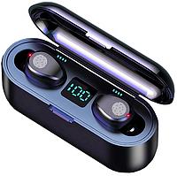 Беспроводные Bluetooth наушники F9 TWS Touch | Черный | IPX7 | Blue LED