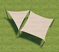 Теневой навес Парус, шатер, тент квадрат+треугольник полотна с общими креплениями