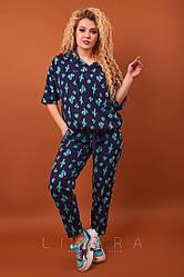 Женский,прогулочный костюм,большого размера,ткань тонкая штапель,размеры 48-50,52-54,56 (9243)принт кактус
