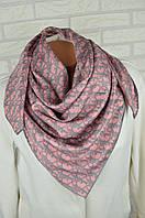 Шелковый платок в стиле Dior (Диор) СЕРО-РОЗОВЫЙ