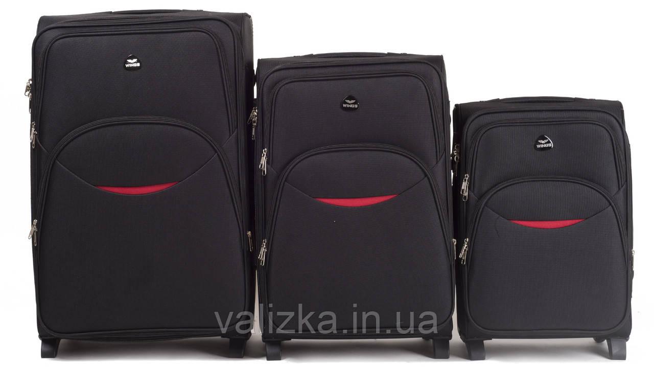Комплект текстильных чемоданов для ручной клади, средний и большой на 2-х колесах Wings 1708 черного цвета.