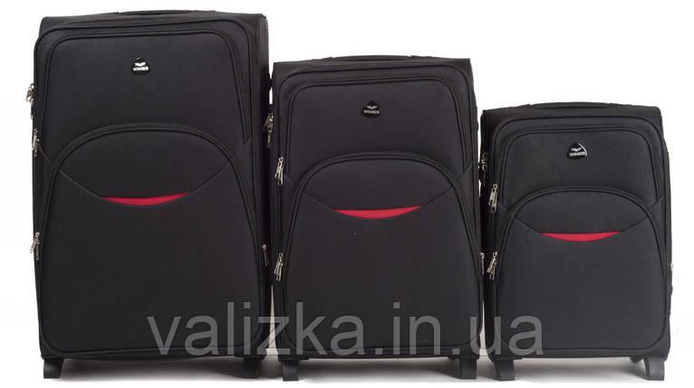Комплект текстильных чемоданов для ручной клади, средний и большой на 2-х колесах Wings 1708 черного цвета., фото 2