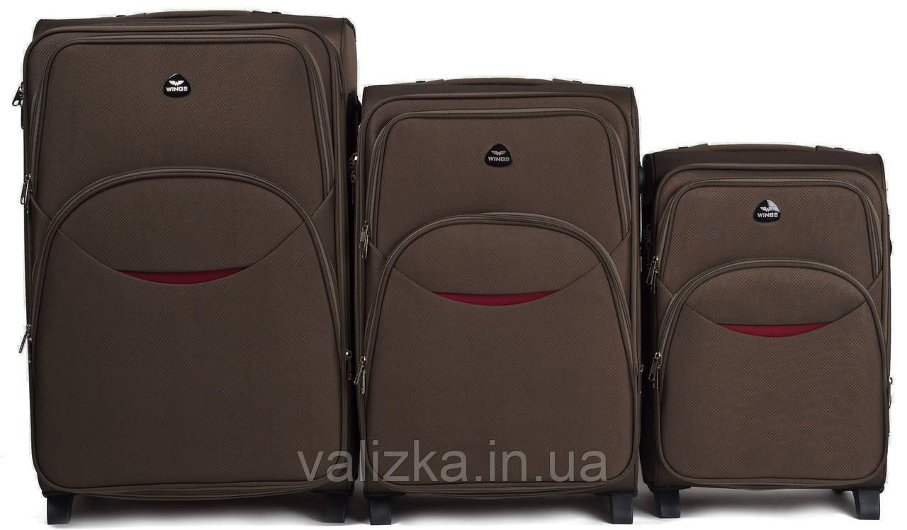 Комплект текстильных чемоданов коричневых Wings 1708