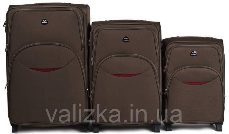 Комплект текстильных чемоданов коричневых Wings 1708, фото 2