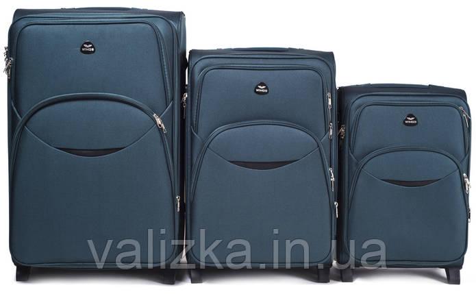 Комплект текстильных чемоданов для ручной клади, средний и большой на 2-х колесах Wings 1708 темно-зеленый., фото 2