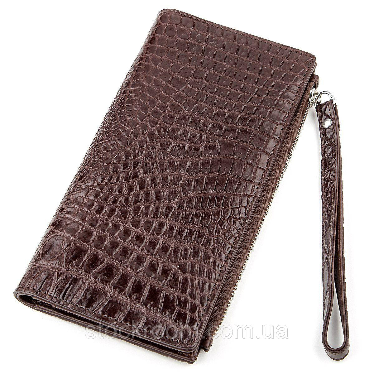 Клатч CROCODILE LEATHER 18290 из натуральной кожи крокодила Коричневый, Коричневый