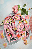 Шелковый платок Kitty Cats серо-розовый