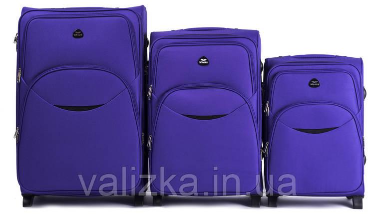 Комплект текстильных чемоданов для ручной клади, средний и большой на 2-х колесах Wings 1708 фиолетовый., фото 2
