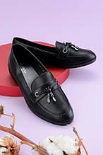 Женские лоферы - балетки черные с декором эко кожа