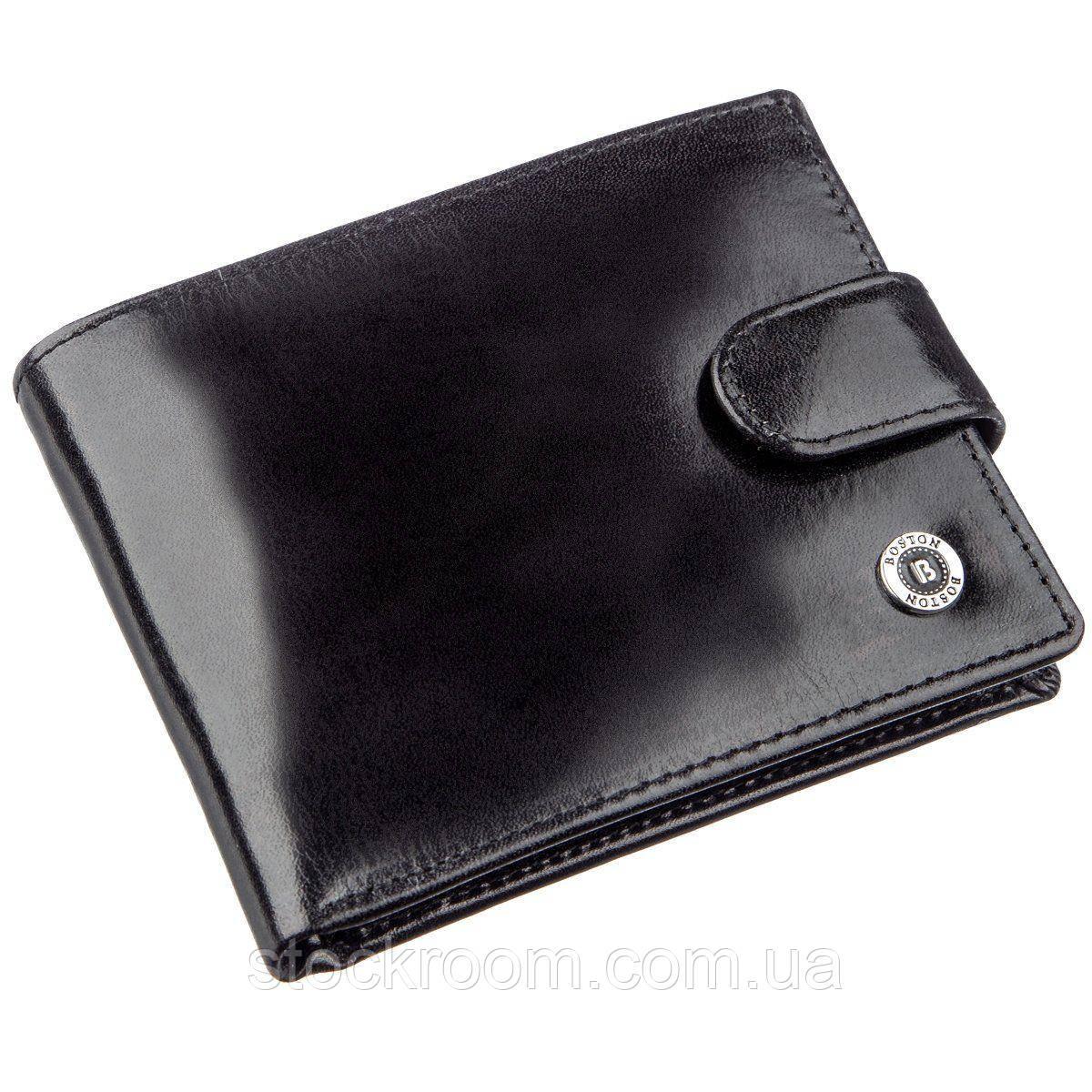 Якісний шкіряний гаманець для чоловіків Boston 18809 Чорний, Чорний