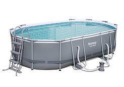 Каркасний басейн 56448 Power Steel (488х305х107 см) з картриджних фільтрів, овальний