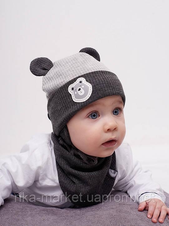 Набор для мальчика (шапка+манишка), арт.Триест, возраст от 6 до 12 месяцев ТМ Дембохаус