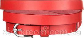 Ремень женский Grande Pelle 11075 тонкий красный, Красный