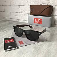 Солнцезащитные очки RAY BAN Wayfarer 2140 черный мат дерево Polarized