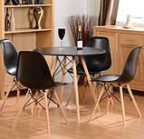 Стол обеденный Тауэр Вуд черный 60 см на буковых ножках круглый SDM Group (бесплатная доставка), фото 3