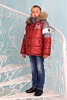 "Зимняя куртка для мальчика ""Бруклин"" (бордо-графит)"