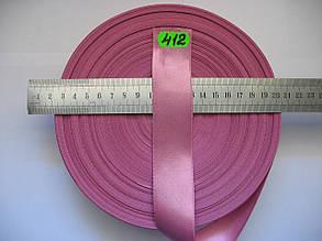 Лента атласная двухсторонняя 30мм, цвет розовый, Турция