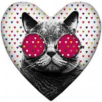 Подушка-сердце кот