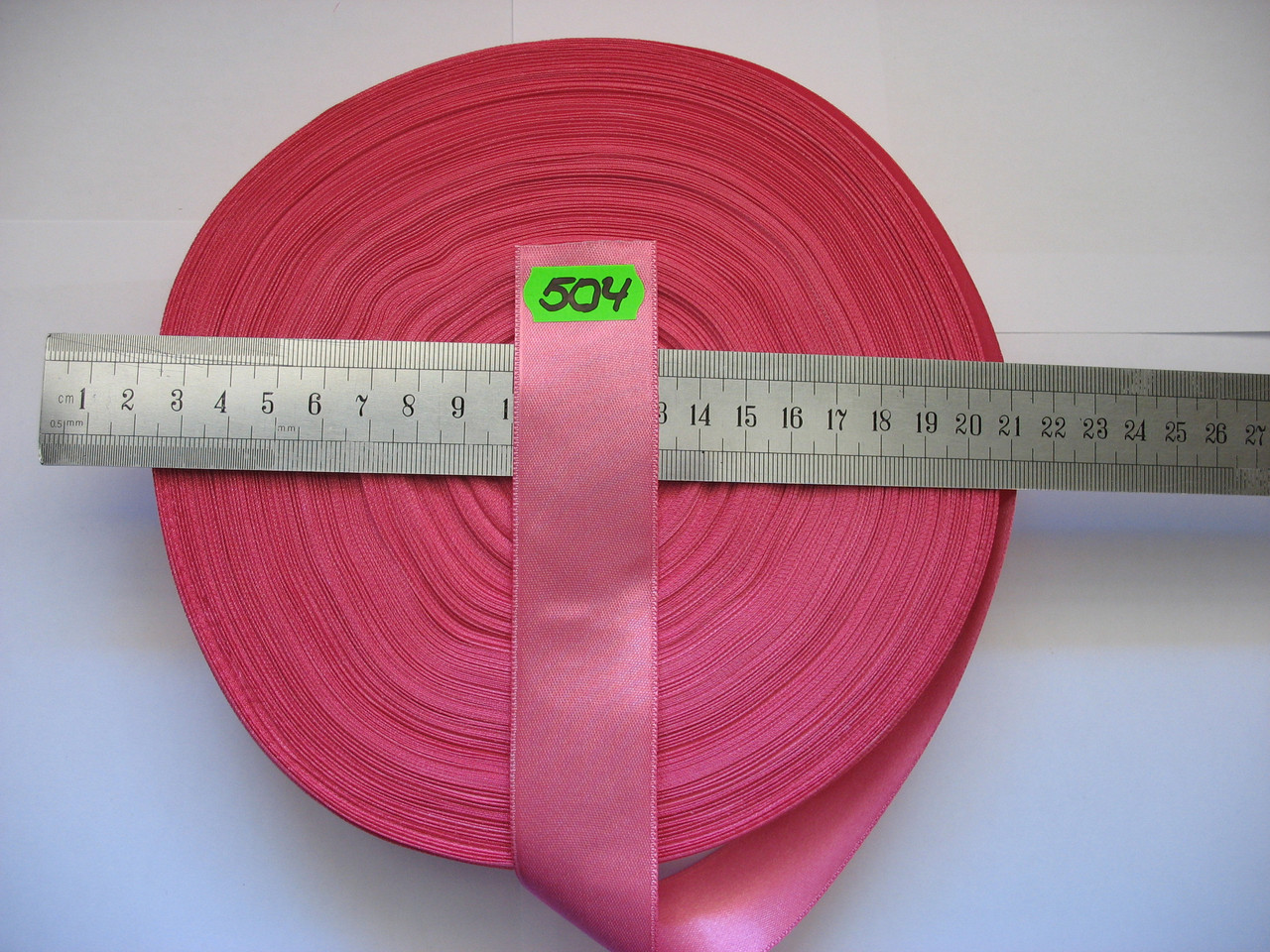 Лента атласная двухсторонняя 30мм, цвет темно-розовый, Турция