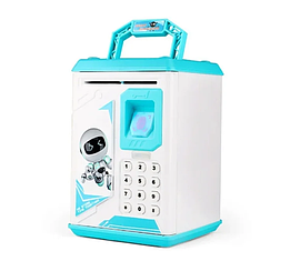 Копилка-сейф детская  Сканер отпечатка пальца Кодовый замок Ультрафиолет