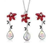 Модная бижутерия 2021 Хупинг с кристаллами Сваровски кулон с цепочкой и висячие серьги красный цветок