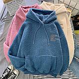 Тёплые плюшевые худи с карманом розовые, фото 3