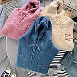 Тёплые плюшевые худи с карманом розовые, фото 2