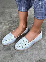Туфли балетки кожаные белые с перфорацией, фото 1
