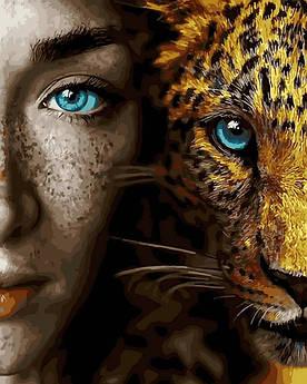 Картина по номерам Девушка и леопард (BK-GX28049) 40 х 50 см (Без коробки)