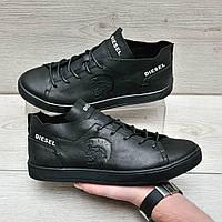Мужские кожаные кроссовки в стиле Diesel, фото 1