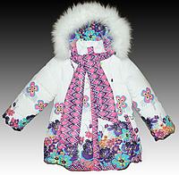 Пальто зимнее для девочки на двойном холлофайбере с меховой опушкой на капюшоне