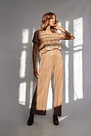Костюм женский брючный из тонкого замша в 2 цветах : беж, чёрный, фото 1
