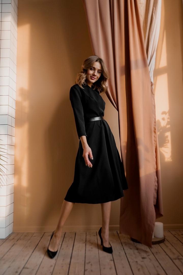 Платье миди стильное с поясом в комплекте ткань - креп костюмка