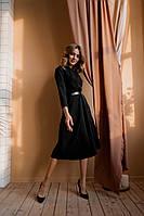 Платье миди стильное с поясом в комплекте ткань - креп костюмка, фото 1