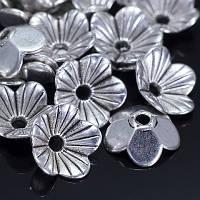 Шапочки для Бусин Металлические, Цветок, Цвет: Античное Серебро, Размер: 10х10х3мм, Отверстие 1.5мм, (УТ000007701)