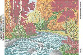 """Схема для полной зашивки бисером """"Осенний пейзаж"""""""