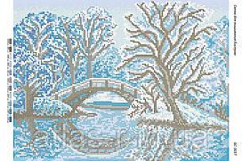 """Схема для полной зашивки бисером """"Зимний мост"""""""